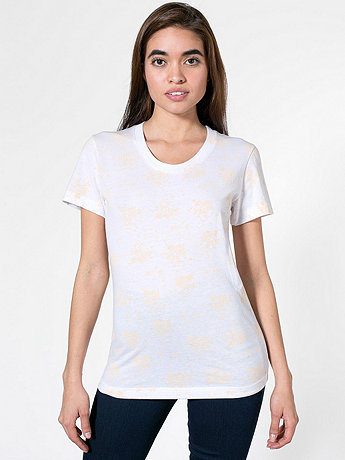 Printed Poly-Cotton Short Sleeve Women's T