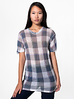 Unisex Poly-Cotton Short Sleeve Plaid T-Shirt