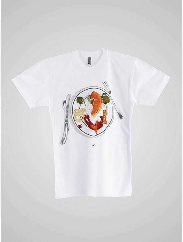 Screen Printed Poly-Cotton Short Sleeve T-Shirt - With Cheese Please-C. White