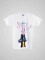 Screen Printed Poly-Cotton Short Sleeve T-Shirt - FIZZZ-C. White