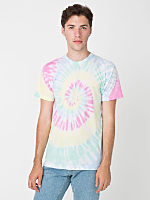 One-of-a-Kind Tie Dye Poly-Cotton Short Sleeve Crew Neck