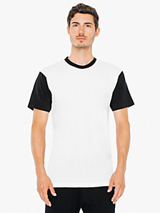 Two Tone Poly-Cotton Short Sleeve Crew Neck