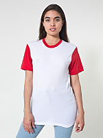 Unisex Two Tone Poly-Cotton Short Sleeve Crew Neck