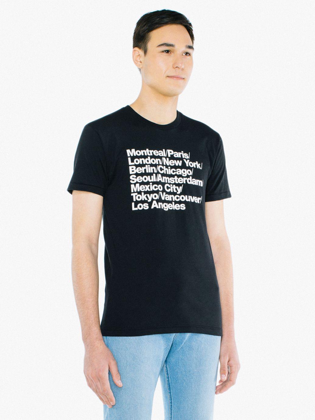 Cities Print 5050 T Shirt American Apparel