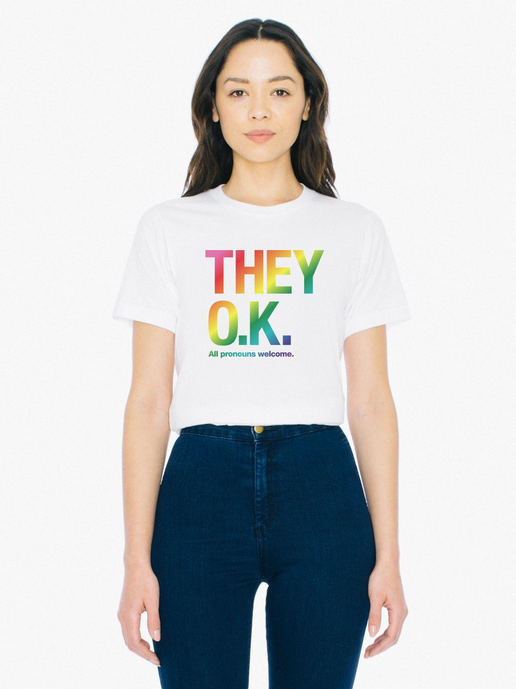 Unisex They Okay Print 50/50 T Shirt by American Apparel