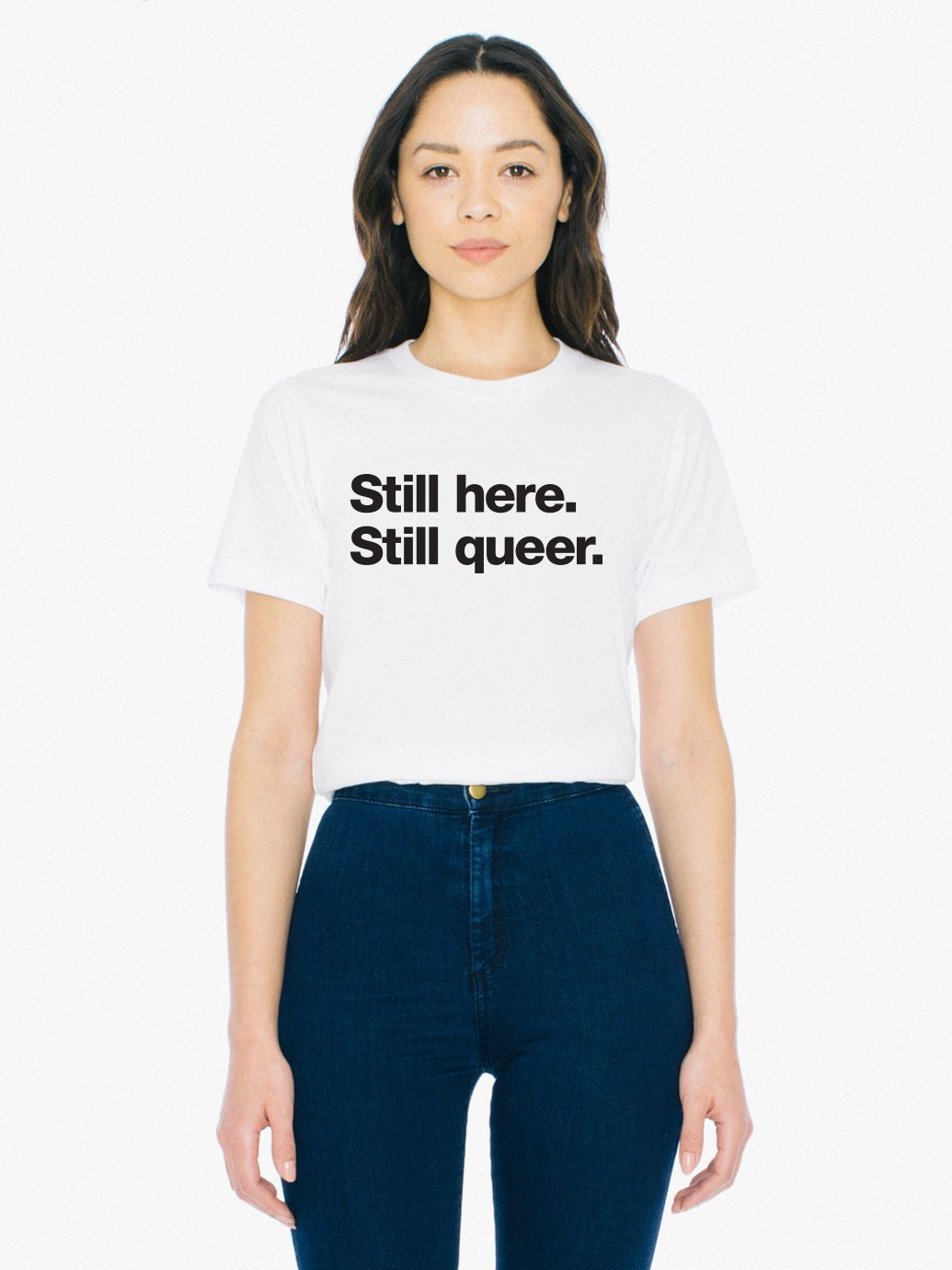 Unisex Still Here Print 50/50 T Shirt by American Apparel