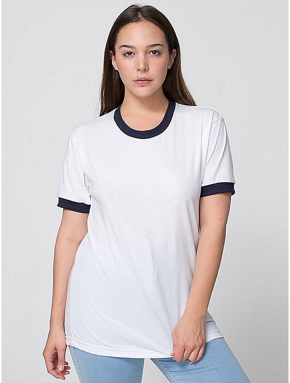 Unisex Poly-Cotton Short Sleeve Ringer T -Shirt