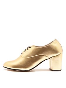 Metallic High Heel Bobby Leather Lace-Up Shoe
