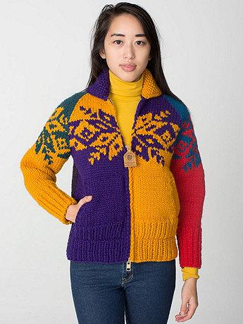 Unisex Color Block Snowflake Canadian Sweater