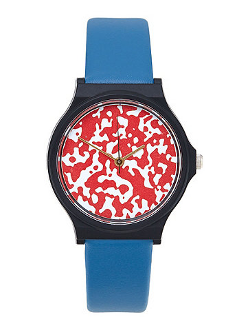Two-Tone Leather & Resin Composition Print Watch
