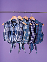 California Select Originals Plaid Cropped Tie Top