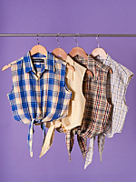 California Select Originals Plaid Cropped Tie Top