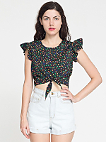 California Select Originals Tie Front Ruffle Top