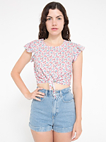 California Select Original Tie Front Ruffle Top