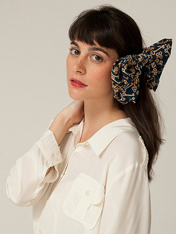 California Select Originals Key Print Oversized Bow Hair Clip
