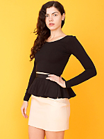 California Select Originals Black Silk Peplum