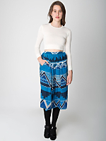 Vintage Geometric Mid-Length Silk Skirt