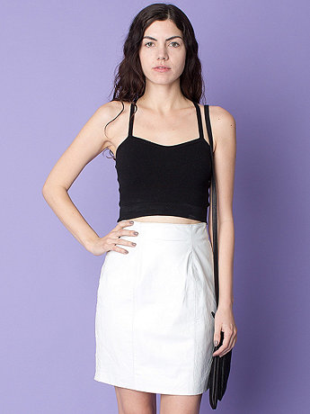 Vintage High-Waisted Leather & Lace Mini Skirt