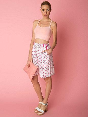 Vintage Floral Print Cotton Shorts