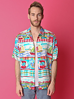 Vintage Sailboat Print Short-Sleeve Button-Up Shirt