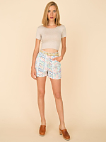 Vintage Pastel Floral Cuffed Denim Short