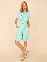 Vintage Striped Button-Up Romper