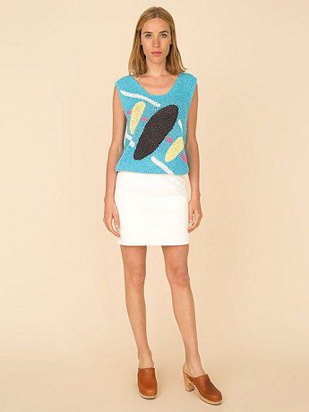 Vintage Abstract Sleeveless V-Neck Sweater