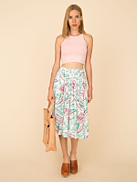 Vintage Pleated Abstract Floral Skirt