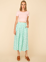 Vintage Pleated Brushstroke Print Skirt