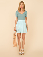Vintage Pleated Chiffon Mini Skirt