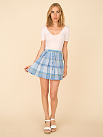 Vintage Madras Buttoned Mini Skirt