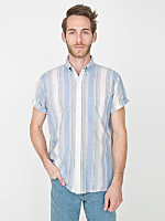 Vintage Striped Short-Sleeve Button-Up