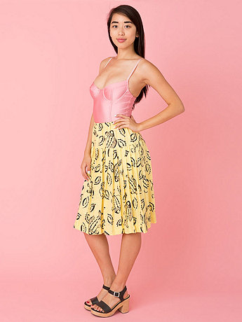 Vintage Graphic Fish Print Pleated Skirt
