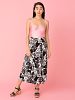 Vintage Graphic Print Mid-Length Skirt