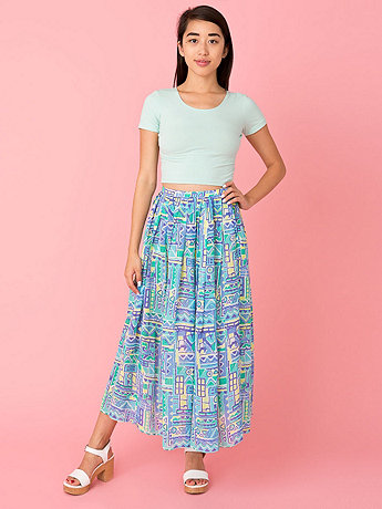 Vintage Geometric Print Pleated Mid-Length Skirt