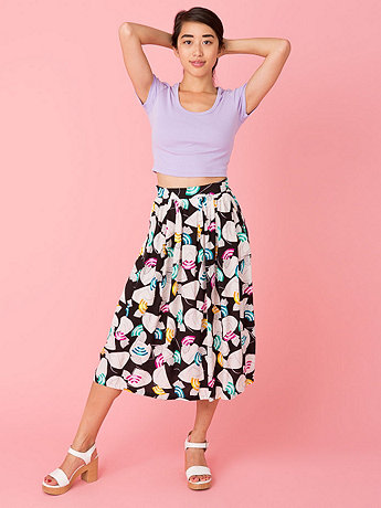 Vintage Abstract Fan Print Mid-Length Skirt