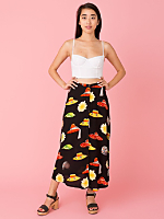 Vintage Sun Hats & Sunflowers Buttoned Mid-Length Skirt