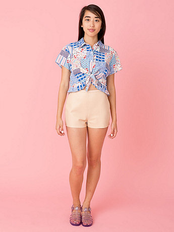 Vintage Mixed Prints Tie-Front Crop Top