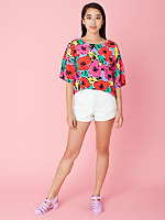 Vintage Bright Floral Cropped Blouse