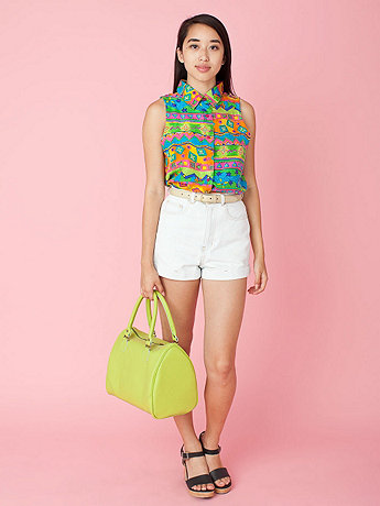 California Select Originals Sleeveless Cropped Silk Button-Up