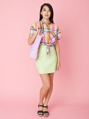 Vintage Madras Tie-Front Crop Top