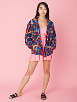 Vintage Abstract Print Bomber Jacket