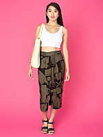 Vintage Abstract Print Mid-Length Skirt