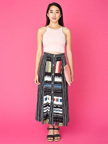Vintage Stripes & Patterns Buttoned Mid-Length Skirt