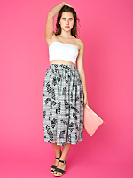 Vintage Shapes Print Woven Mid-Length Skirt