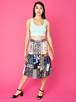 Vintage Patchwork Prints Mid-Length Skirt