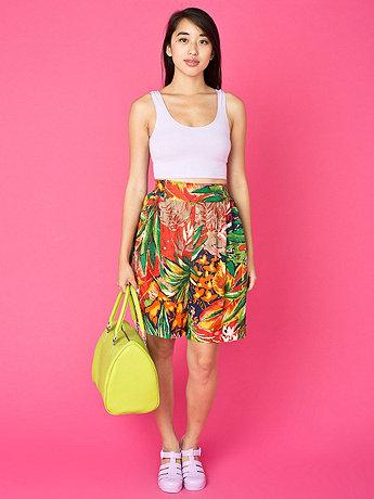 Vintage Colorful Leaf Print Silk Shorts