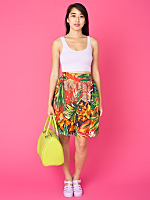 Vintage Colorful Leaf Print Silk Shorts