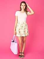 Vintage Pleated Floral Mini Skirt