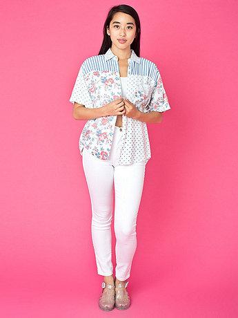 Vintage Express Mixed Prints Short-Sleeve Button-Up Shirt